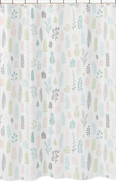 Pink and Grey Tropical Leaf Bathroom Fabric Bath Shower Curtain by Sweet Jojo Designs - Blush, Turquoise, Gray and Green Botanical Rainforest Jungle Sloth Collection