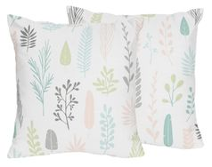 Pink and Grey Tropical Leaf Decorative Accent Throw Pillows by Sweet Jojo Designs - Set of 2 - Blush, Turquoise, Gray and Green Botanical Rainforest Jungle Sloth Collection