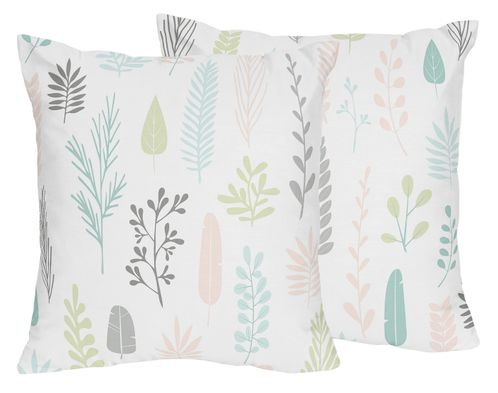 Pink and Grey Tropical Leaf Decorative Accent Throw Pillows by Sweet Jojo Designs - Set of 2 - Blush, Turquoise, Gray and Green Botanical Rainforest Jungle Sloth Collection - Click to enlarge