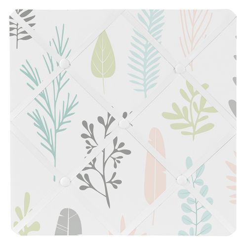 Pink and Grey Tropical Leaf Fabric Memory Memo Photo Bulletin Board by Sweet Jojo Designs - Blush, Turquoise, Gray and Green Botanical Rainforest Jungle Sloth Collection - Click to enlarge