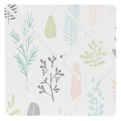 Pink and Grey Tropical Leaf Fabric Memory Memo Photo Bulletin Board by Sweet Jojo Designs - Blush, Turquoise, Gray and Green Botanical Rainforest Jungle Sloth Collection