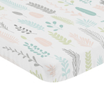 Pink and Grey Tropical Leaf Girl Baby Nursery Fitted Mini Portable Crib Sheet by Sweet Jojo Designs For Mini Crib or Pack and Play - Blush, Turquoise, Gray and Green Botanical Rainforest Jungle Sloth Collection
