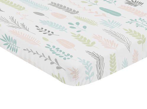 Pink and Grey Tropical Leaf Girl Baby Nursery Fitted Mini Portable Crib Sheet by Sweet Jojo Designs For Mini Crib or Pack and Play - Blush, Turquoise, Gray and Green Botanical Rainforest Jungle Sloth Collection - Click to enlarge