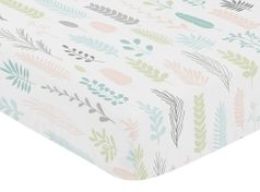 Pink and Grey Tropical Leaf Girl Baby or Toddler Nursery Fitted Crib Sheet by Sweet Jojo Designs - Blush, Turquoise, Gray and Green Botanical Rainforest Jungle Sloth Collection