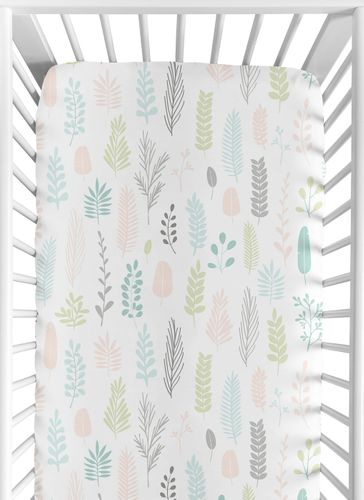 Pink and Grey Tropical Leaf Girl Baby or Toddler Nursery Fitted Crib Sheet by Sweet Jojo Designs - Blush, Turquoise, Gray and Green Botanical Rainforest Jungle Sloth Collection - Click to enlarge