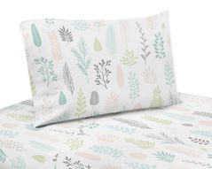 Pink and Grey Tropical Leaf Queen Sheet Set by Sweet Jojo Designs - 4 piece set - Blush, Turquoise, Gray and Green Botanical Rainforest Jungle Sloth Collection