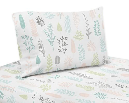 Pink and Grey Tropical Leaf Queen Sheet Set by Sweet Jojo Designs - 4 piece set - Blush, Turquoise, Gray and Green Botanical Rainforest Jungle Sloth Collection - Click to enlarge