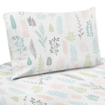 Pink and Grey Tropical Leaf Twin Sheet Set by Sweet Jojo Designs - 3 piece set - Blush, Turquoise, Gray and Green Botanical Rainforest Jungle Sloth Collection