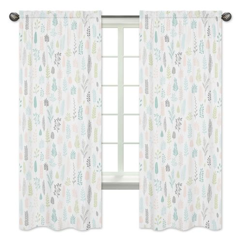 Pink and Grey Tropical Leaf Window Treatment Panels Curtains by Sweet Jojo Designs - Set of 2 - Blush, Turquoise, Gray and Green Botanical Rainforest Jungle Sloth Collection - Click to enlarge