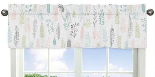 Pink and Grey Tropical Leaf Window Treatment Valance by Sweet Jojo Designs - Blush, Turquoise, Gray and Green Botanical Rainforest Jungle Sloth Collection - Click to enlarge