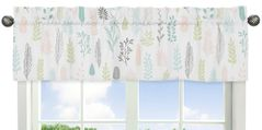 Pink and Grey Tropical Leaf Window Treatment Valance by Sweet Jojo Designs - Blush, Turquoise, Gray and Green Botanical Rainforest Jungle Sloth Collection