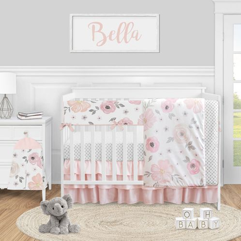 Pink and Grey Watercolor Floral Baby Girl Nursery Crib Bedding Set by Sweet Jojo Designs - 5 pieces - Blush Gray and White Shabby Chic Rose Flower Polka Dot - Click to enlarge