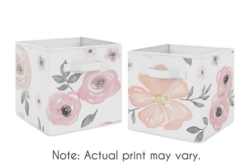 Pink and Grey Watercolor Floral Foldable Fabric Storage Cube Bins Boxes Organizer Toys Kids Baby Childrens for Collection by Sweet Jojo Designs - Set of 2 - Click to enlarge