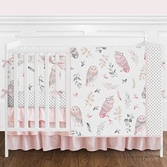Pink and Grey Woodland Owl Baby Girl Nursery Crib Bedding Set with Bumper by Sweet Jojo Designs - 9 pieces - Blush, Gray, and White Watercolor Boho Feather Forest