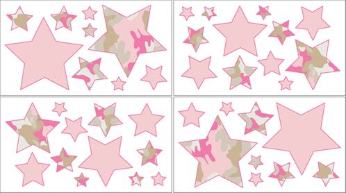 Pink and Khaki Camo Army Camouflage Baby, Kids and Teens Wall Decal Stickers - Set of 4 Sheets - Click to enlarge