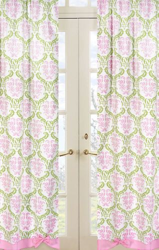 Pink and Lime Juliet Window Treatment Panels - Set of 2 - Click to enlarge