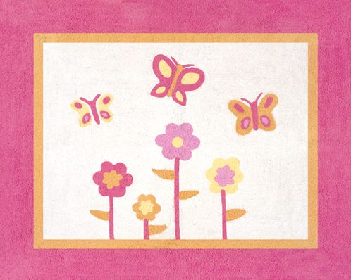 Pink and Orange Butterfly Accent Floor Rug - Click to enlarge