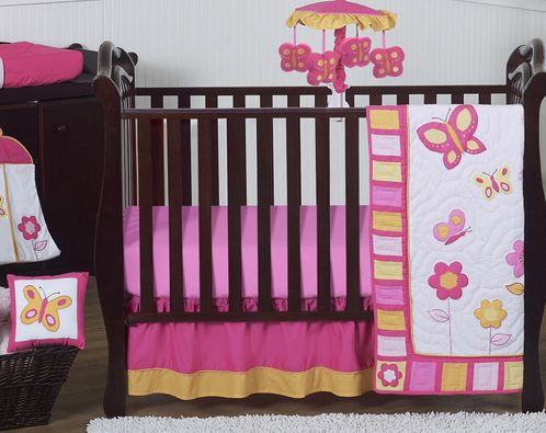 Pink and Orange Butterfly Baby Bedding - 11pc Crib Set - Click to enlarge