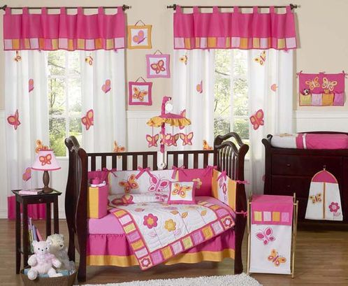Pink and Orange Butterfly Baby Bedding - 9 pc Crib Set - Click to enlarge