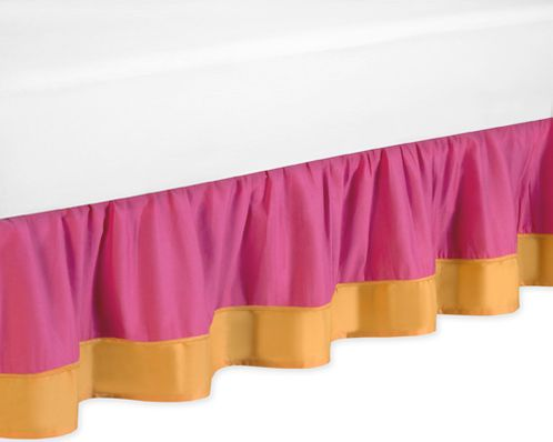 Pink and Orange Butterfly Bed Skirt for Toddler Bedding Sets by Sweet Jojo Designs - Click to enlarge