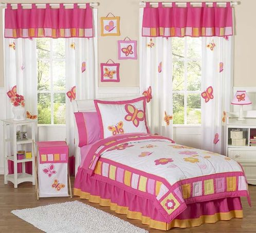 Pink and Orange Butterfly Children's Bedding- 3pc Full / Queen Set - Click to enlarge