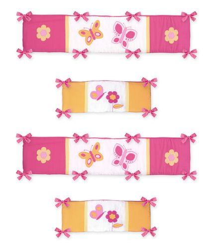 Pink and Orange Butterfly Collection Crib Bumper by Sweet Jojo Designs - Click to enlarge