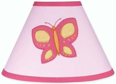 Pink and Orange Butterfly Lamp Shade by Sweet Jojo Designs - Click to enlarge