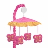 Pink and Orange Butterfly Musical Crib Mobile