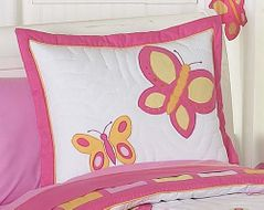 Pink and Orange Butterfly Pillow Sham