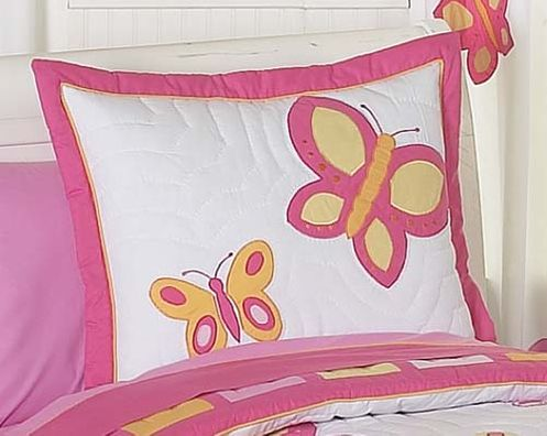 Pink and Orange Butterfly Pillow Sham - Click to enlarge
