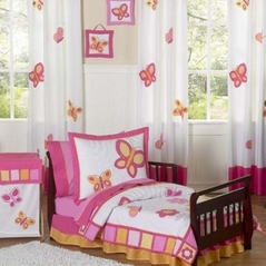 Pink and Orange Butterfly Toddler Bedding - 5pc Set