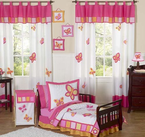 Pink and Orange Butterfly Toddler Bedding - 5pc Set - Click to enlarge