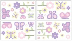 Pink and Purple Butterfly Peel and Stick Wall Decal Stickers Art Nursery Decor by Sweet Jojo Designs - Set of 4 Sheets
