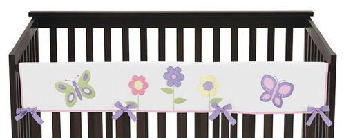 Pink and Purple Butterfly Baby Crib Long Rail Guard Cover by Sweet Jojo Designs - Click to enlarge