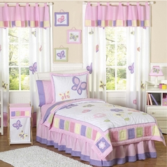 Pink and Purple Butterfly Childrens Bedding -  4pc Twin Set