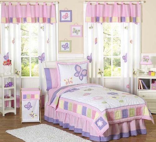 Pink and Purple Butterfly Childrens Bedding -  4pc Twin Set - Click to enlarge