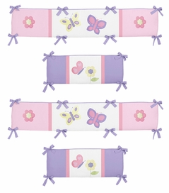 Pink and Purple Butterfly Collection Crib Bumper by Sweet Jojo Designs