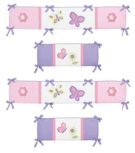 Pink and Purple Butterfly Collection Crib Bumper by Sweet Jojo Designs - Click to enlarge