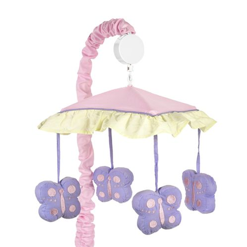 Pink and Purple Butterfly Musical Crib Mobile - Click to enlarge