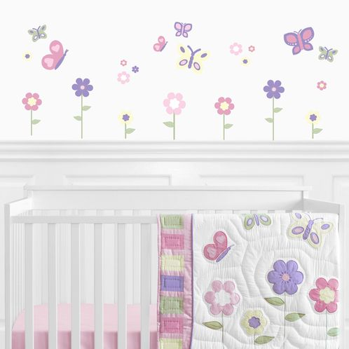 Pink and Purple Butterfly Peel and Stick Wall Decal Stickers Art Nursery Decor by Sweet Jojo Designs - Set of 4 Sheets - Click to enlarge