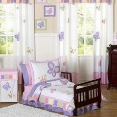 Pink and Purple Butterfly Toddler Bedding - 5pc Set