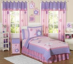 Pink and Purple Flower Childrens Bedding - 4pc Twin Set