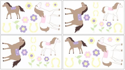 Pink and Purple Pretty Pony Peel and Stick Wall Decal Stickers Art Nursery Decor by Sweet Jojo Designs - Set of 4 Sheets - Click to enlarge