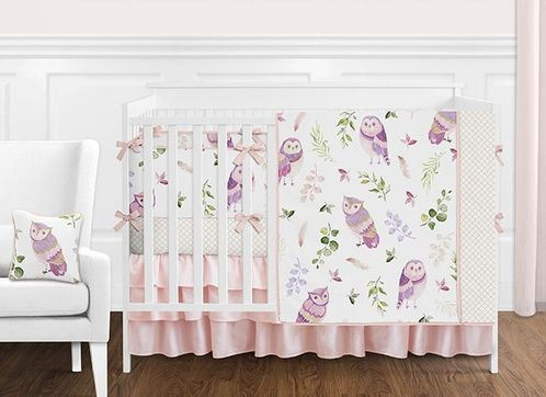 Pink and Purple Woodland Owl Baby Girl Nursery Crib Bedding Set with Bumper by Sweet Jojo Designs - 9 pieces - Blush, Lavendar, Gold and Green Watercolor Boho Feather Forest - Click to enlarge