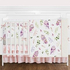 Pink and Purple Woodland Owl Baby Girl Nursery Crib Bedding Set with Bumper by Sweet Jojo Designs - 9 pieces - Blush, Lavendar, Gold and Green Watercolor Boho Feather Forest