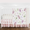 Pink and Purple Woodland Owl Baby Girl Nursery Crib Bedding Set without Bumper by Sweet Jojo Designs - 4 pieces - Blush, Lavendar, Gold and Green Watercolor Boho Feather Forest