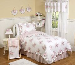 Pink and Sage Shabby Chic Teen Bedding - 3pc Full / Queen Set