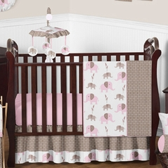 Pink and Taupe Mod Elephant Baby Bedding - 11pc Crib Set by Sweet Jojo Designs