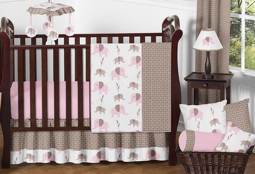 Pink and Taupe Mod Elephant Baby Bedding - 11pc Crib Set by Sweet Jojo Designs - Click to enlarge