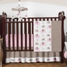 Pink and Taupe Mod Elephant Baby Bedding - 4pc Crib Set by Sweet Jojo Designs